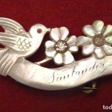 Antigüedades: PRECIOSO BROCHE NACAR BRILLANTES. SANTANDER. AÑOS 1920-30 MODERNISTA ,CANTABRIA. Lote 97770855