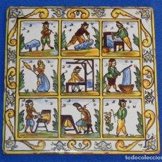Antigüedades: ** PRECIOSO AZULEJO DESCRIBIENDO EL PROCESO DE LA LANA **. Lote 97804935