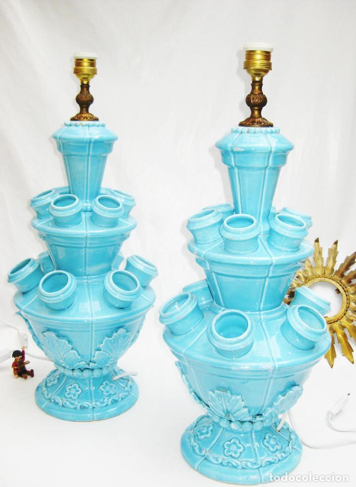 67CM!! LAMPARAS ANTIGUAS VINTAGE CERAMICA AZUL MANISES VINTAGE POP (Antigüedades - Iluminación - Lámparas Antiguas)
