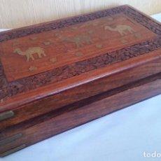 Antigüedades: JOYERO. CAJA, COFRE. MADERA TALLADA CON INCRUSTACIONES. JEWELER. BOX:. Lote 126415496