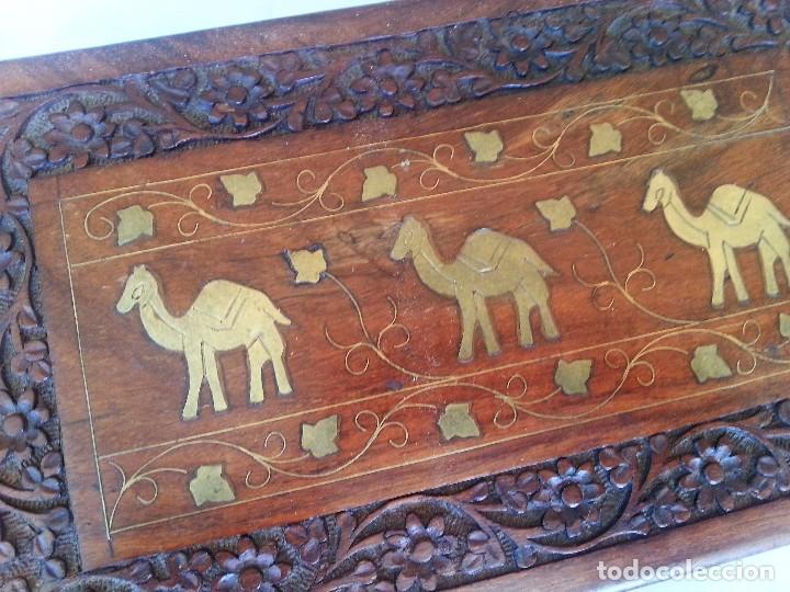 Antigüedades: JOYERO. CAJA, COFRE. MADERA TALLADA CON INCRUSTACIONES. JEWELER. BOX: - Foto 5 - 126415496