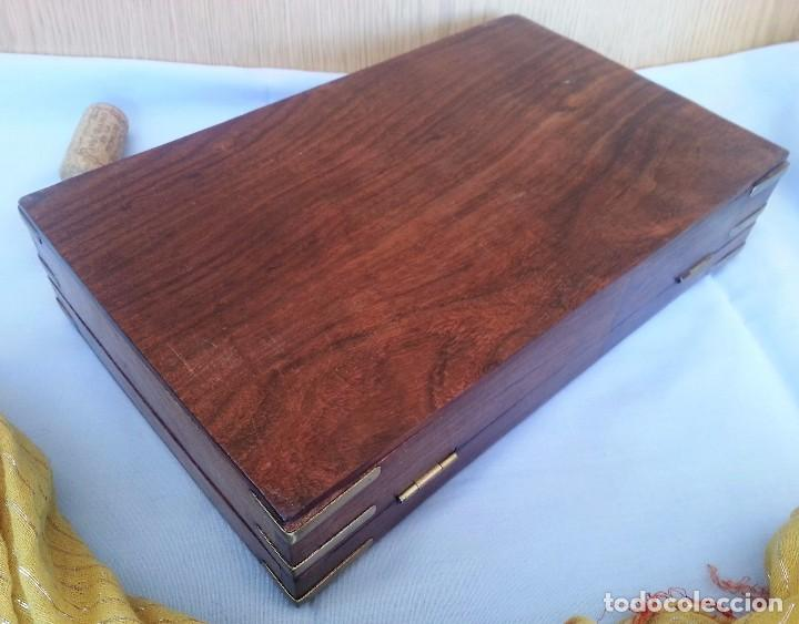 Antigüedades: JOYERO. CAJA, COFRE. MADERA TALLADA CON INCRUSTACIONES. JEWELER. BOX: - Foto 6 - 126415496