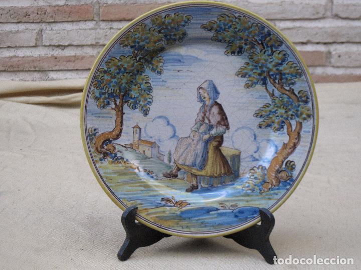 PLATO ANTIGUO EN CERAMICA DE RUIZ DE LUNA. - PRIMERA EPOCA - TALAVERA ( TOLEDO ) (Antigüedades - Porcelanas y Cerámicas - Talavera)