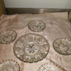 Antigüedades: JUEGO DE PLATOS DE CRISTAL. Lote 97850502