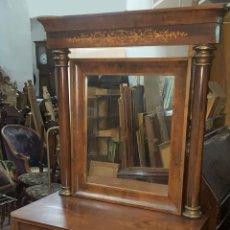 Antigüedades: CONSOLE FERNANDINA. MADERA DE CHICARANDA Y MARQUETERÍA DE LIMONCILLO. SIGLO XIX.. Lote 97854595