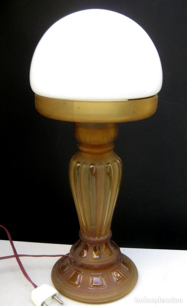 LAMPARA ANTIGUA ART DECO CON QUINQUE CIRCA 1840 ELECTRIFICADA (Antigüedades - Iluminación - Lámparas Antiguas)