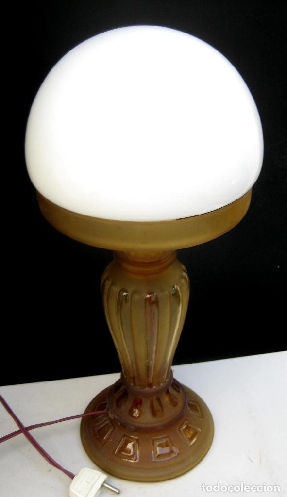 Antigüedades: LAMPARA ANTIGUA ART DECO CON QUINQUE CIRCA 1840 ELECTRIFICADA - Foto 2 - 97882655