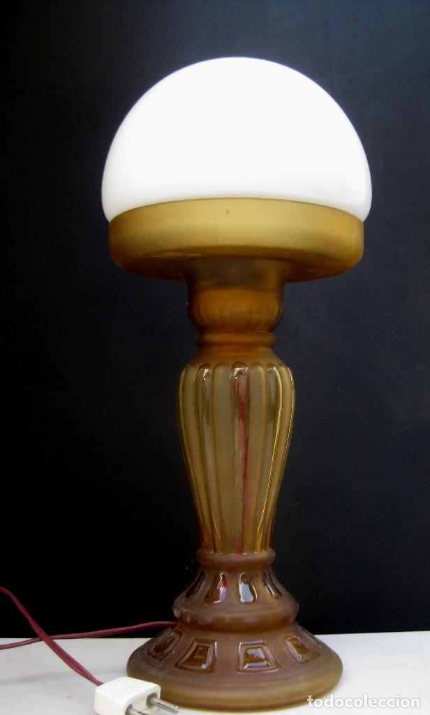 Antigüedades: LAMPARA ANTIGUA ART DECO CON QUINQUE CIRCA 1840 ELECTRIFICADA - Foto 3 - 97882655