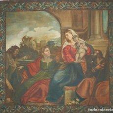 Antigüedades: GRAN TAPIZ DE AÑOS 1900 PINTADO A MANO, ÓLEO. ADORACIÓN AL NIÑO JESÚS.. Lote 97902935