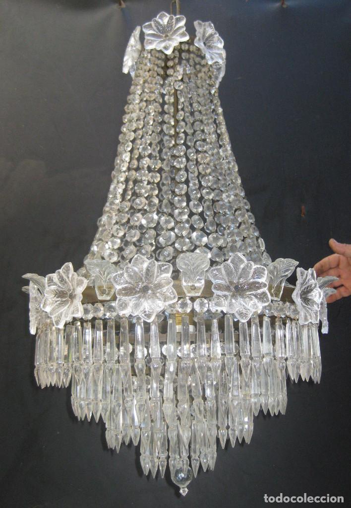 FANTASTICA LAMPARA ANTIGUA 1920 RESTAURADA CRISTAL BACCARAT FRANCIA VINTAGE Y BOHEMIA (Antigüedades - Iluminación - Lámparas Antiguas)