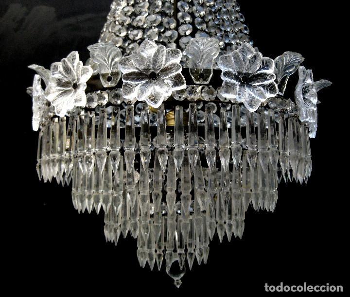 Antigüedades: FANTASTICA LAMPARA ANTIGUA 1920 RESTAURADA CRISTAL BACCARAT FRANCIA VINTAGE Y BOHEMIA - Foto 3 - 97940591