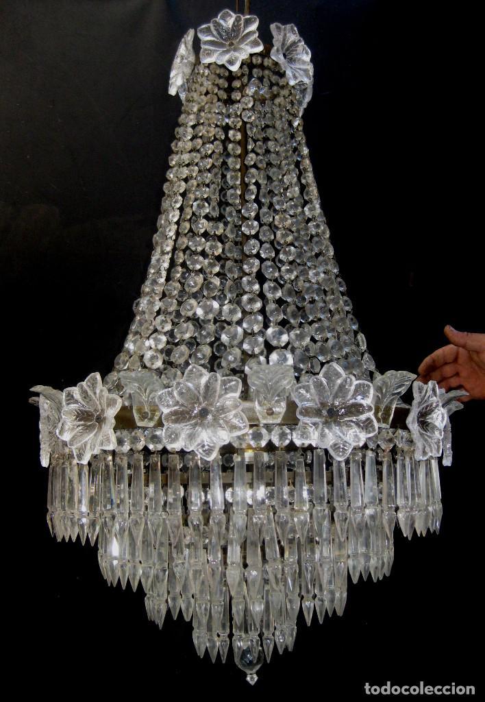 Antigüedades: FANTASTICA LAMPARA ANTIGUA 1920 RESTAURADA CRISTAL BACCARAT FRANCIA VINTAGE Y BOHEMIA - Foto 4 - 97940591