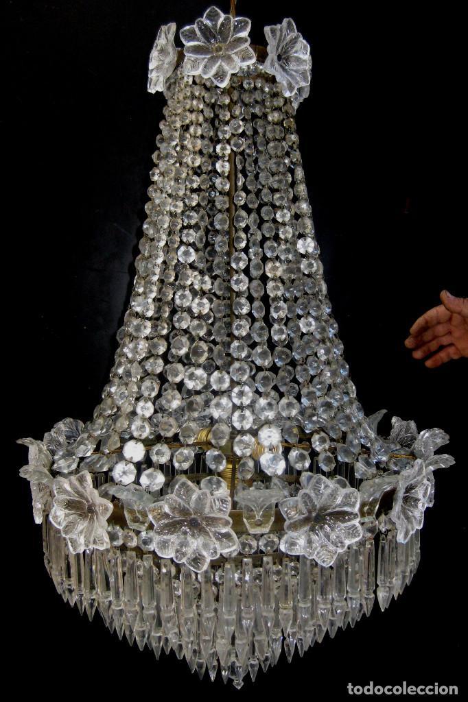 Antigüedades: FANTASTICA LAMPARA ANTIGUA 1920 RESTAURADA CRISTAL BACCARAT FRANCIA VINTAGE Y BOHEMIA - Foto 5 - 97940591