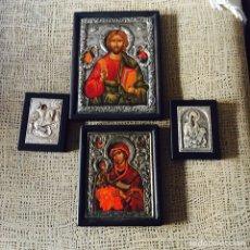 Antigüedades: LOTE DE 4 ICONOS EN PLATA DE LEY, CERTIFICADOS. Lote 97941562