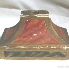 Antigüedades: PEANA MADERA POLICROMADA AÑOS 40, PARA CUSTODIA O CRUCIFIJO. MED. 18 X 9 X 10 CM. Lote 97949239