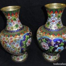 Antigüedades: DOS JARRONES ANTIGUOS CLOISONNE CHINA,. Lote 97962987