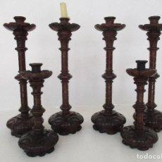 Antigüedades: CONJUNTO DE 6 CANDELABROS - CANDELABRO - NEOGÓTICOS - MADERA TALLADA - IDEAL CAPILLA, ALTAR - S. XIX. Lote 97986523