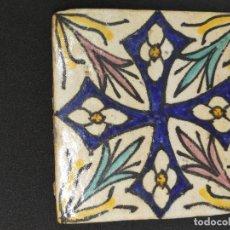 Antigüedades: PRECIOSO Y ANTIGUO AZULEJO MARROQUI DE BARRO COCIDO DE LOS AÑOS 30 CON DECORACION VEGETAL Y FLORAL Y. Lote 97992859