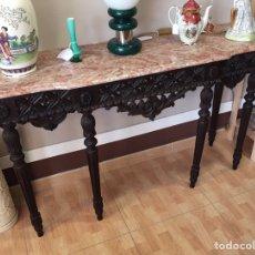 Antigüedades: MESA ,CONSOLA,ENTRADA DE MADERA TALLADA Y TABLA DE MARMOL. Lote 98038190
