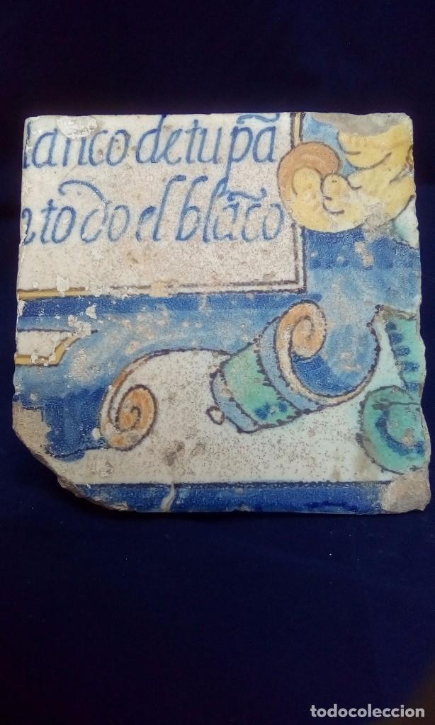 Antigüedades: MAGNÍFICO ANTIGUO AZULEJO CON ESCRITURA - Foto 2 - 98068339