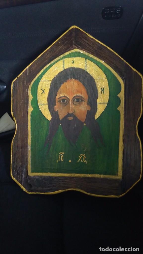 ICONO RELIGIOSO JESUS CRISTO PINTURA OLEO EN MADERA (Antigüedades - Hogar y Decoración - Figuras Antiguas)
