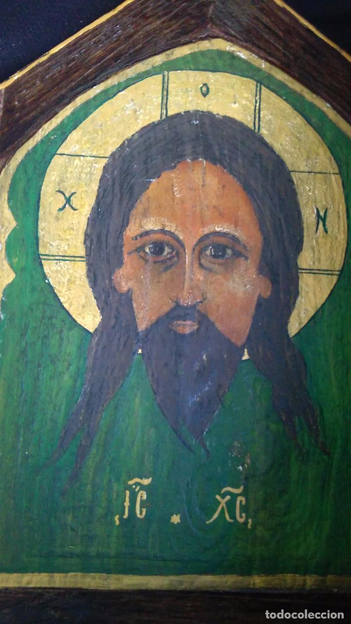 Antigüedades: ICONO RELIGIOSO JesuS cristo PINTURA OLEO en madera - Foto 3 - 98117507
