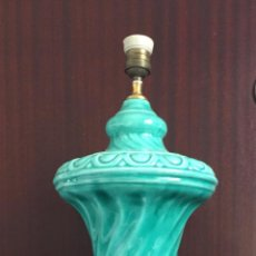 Antigüedades: GRAN LAMPARA CERAMICA DE MANISES COLOR TURQUESA AGUAMARINA MINT FORMA DE COPA 63 CM. ALTURA. Lote 98159691