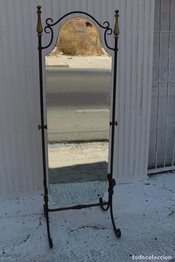 Antigüedades: espejo de pie en hierro de forja - Foto 5 - 98177247
