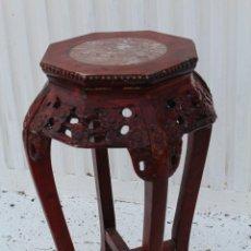 Antiquités: MESITA, PEANA, VELADOR EN MADERA Y MARMOL. Lote 98177407