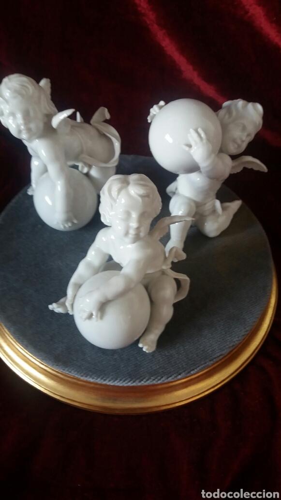 Antigüedades: Angeles porcelana algora con peana - Foto 3 - 98186684