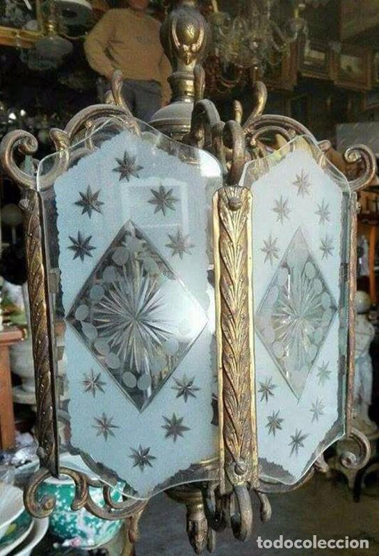 LÁMPARA FAROL BRONCE CRISTAL DECORADO (Antigüedades - Iluminación - Faroles Antiguos)