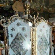 Antigüedades: LÁMPARA FAROL BRONCE CRISTAL DECORADO. Lote 98192775