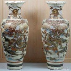 Antigüedades: PAREJA JARRONES IMPERIALES PORCELANA SATSUMA DECORADOS JAPÓN PERIODO MEIJI S XIX. Lote 98206111