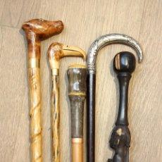 Antigüedades: LOTE DE 5 BASTONES ANTIGUOS Y RAROS. ART DECO PLATA. BASTÓN COLECCIÓN. DIFERENTES MATERIALES. . Lote 98206387