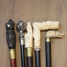 Antigüedades: LOTE DE 5 BASTONES ANTIGUOS Y RAROS. BASTÓN COLECCIÓN. DIFERENTES MATERIALES. HUESO O MARFIL. . Lote 98206407