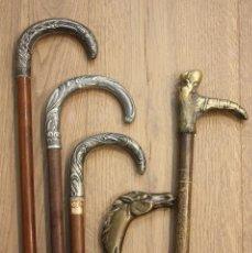 Antigüedades: LOTE DE 5 BASTONES ANTIGUOS Y RAROS. BASTÓN COLECCIÓN. DIFERENTES MATERIALES. PLATA ART DECO. . Lote 98206571