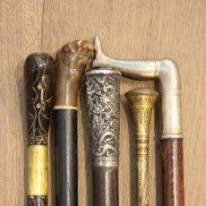 Antigüedades: LOTE DE 5 BASTONES ANTIGUOS Y RAROS. BASTÓN COLECCIÓN. DIFERENTES MATERIALES. . Lote 98206595