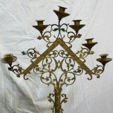 Antigüedades: CANDELABRO DE BRONCE MUY ANTIGUO DE IGLESIA #. Lote 98240610
