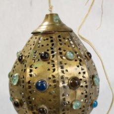 Antigüedades: LAMPARA DE TECHO FAROL EN LATON CON CRISTALES . Lote 98251463