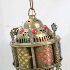 Antigüedades: LAMPARA DE TECHO FAROL EN LATON CON CRISTALES . Lote 98251539