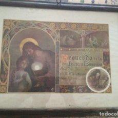 Antigüedades: CUADRO RECUERDO PRIMERA COMUNIÓN. Lote 98370607