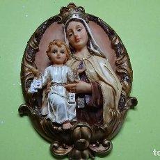 Antigüedades: FIGURA CUADRO MARIA Y NIÑO EN RESINA, 40 CM. Lote 98384707