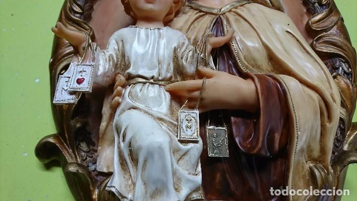 Antigüedades: FIGURA CUADRO MARIA Y NIÑO EN RESINA, 40 CM - Foto 3 - 98384707