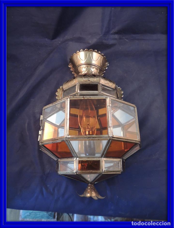 APLIQUE CON CRISTALES DE VIDRIERA. TENGO MAS PIEZAS A JUEGO (Antigüedades - Iluminación - Apliques Antiguos)