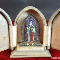 Antigüedades: VIRGEN MARÍA. METAL ESMALTADO. HORNACINA EN MADERA CUBIERTA. SIGLO XX. . Lote 98437987