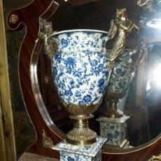 Antigüedades: JARRÓN DE PORCELANA CRAQUELADA Y BRONCE ( 65 CM ). Lote 98447623