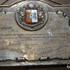 Antigüedades: PLACA DE EN PLATA DE LOS AMIGOS DE MADRID, FIRMADA POR PEDRO CHICOTE, ETC 750 GR. Lote 98479923
