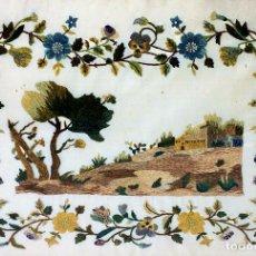 Antigüedades: PAISAJE Y FLORES. BORDADO A MANO SOBRE SEDA. ANÓNIMO. ESPAÑA. SIGLO XIX. Lote 98482007