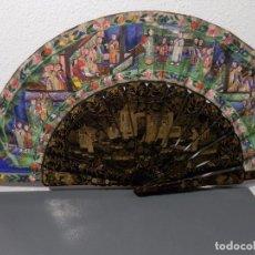 Antigüedades: ANTIGUO ABANICO CANTON, 1000 CARAS, VARILLAJE LACADO, PINTADO A MANO . Lote 98485843