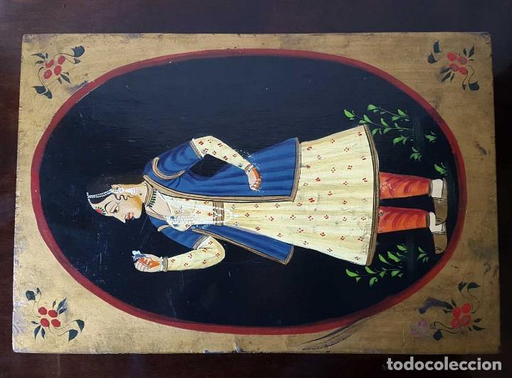 Antigüedades: ANTIGUA CAJA INDIA DE MADERA PINTADA A MANO - SIGLO XIX - Foto 6 - 98488571
